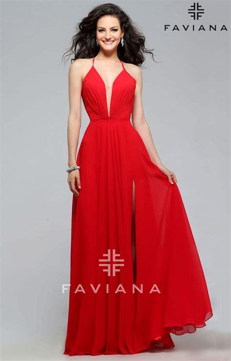 High Heels 7747 faviana 7747 open corset back dress with low neckline