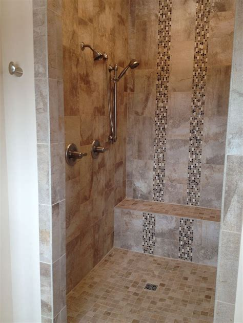 Custom tiles shower with bench   Design by Dennis