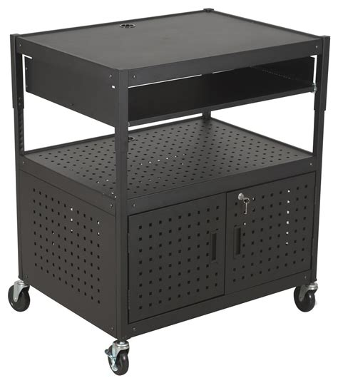multimedia cart with locking multimedia cart w vented secure lock
