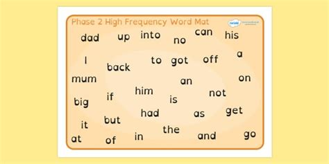 phase 2 word mat phase 2 high frequency word mat dyslexia phase 2 high