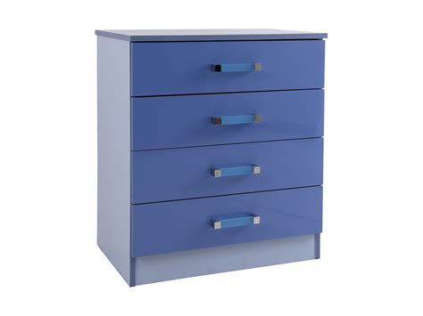 Childrens Chest Of Drawers by Childrens Caspian Boys Blue High Gloss 4 Drawer Chest