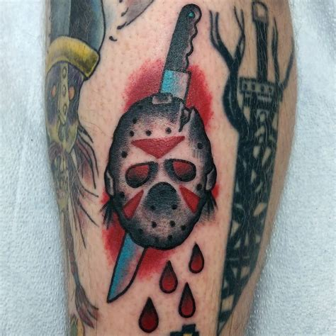 jason tattoos wonderful knife in one eye of jason mask