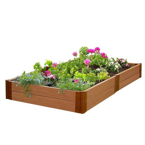 Frame It All Raised Garden Beds Frame It All Two Inch Series 4 Ft X 8 Ft X 11 In Classic Composite Raised Garden Bed