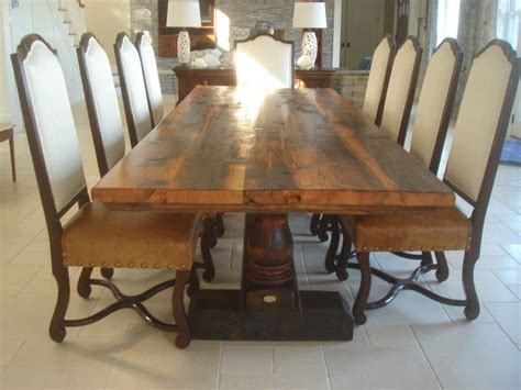 Antiques Dining Tables Reclaimed Antique Wood Dining Table With Turned Trestle Base Transitional Dining Tables