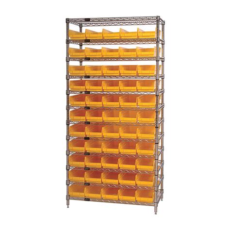 quantum storage 55 bin chrome wire shelf bin system 36in