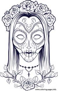 print sugar skull woman flowers coloring pages sugar skull coloring pages