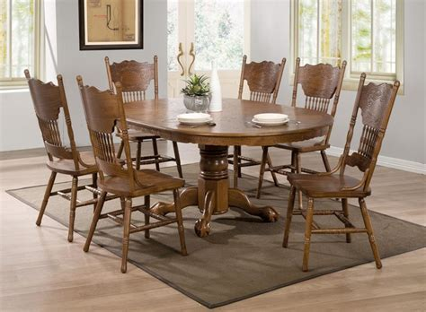 Oak Dining Room Set 7 Pc Country Oak Wood Dining Room Set 24 Quot Leaf Pedestal Base 104270 Contemporary Dining Sets