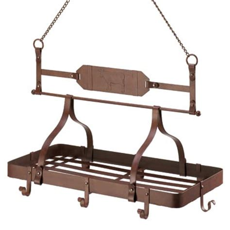 Overhead Pot And Pan Rack rustic country cow iron kitchen rack hanging pot pan holder overhead organizer ebay