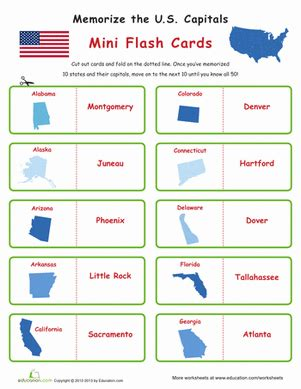 printable flash cards united states states and capitals flash cards worksheet education com