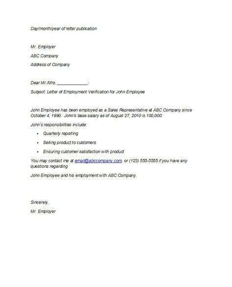 printable sample letter of employment verification form laywers with