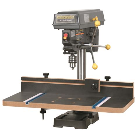 harbor freight bench press drill press table with fence