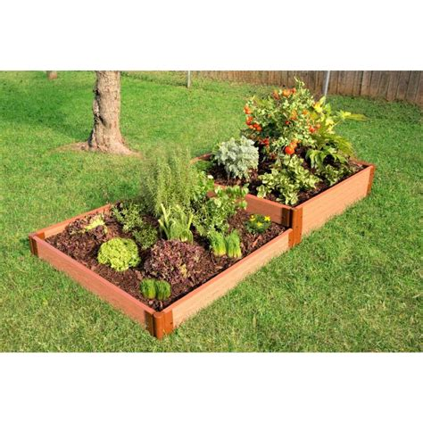Raised Bed Garden Frames Shop Frame It All 48 In W X 96 In L X 11 In H Brown Composite Raised Garden Bed At Lowes