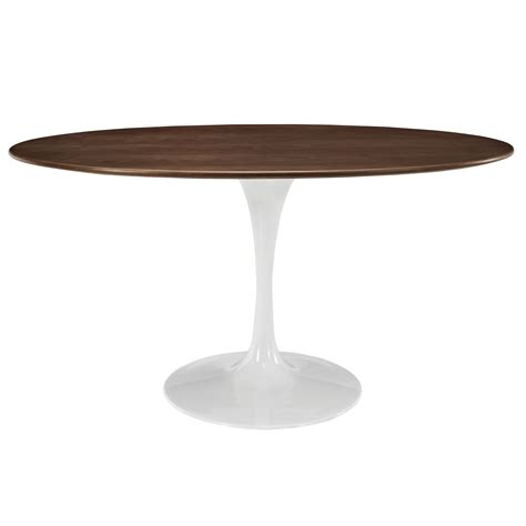 white table l base saarinen tulip style 60 quot oval walnut veneer or white top