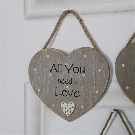 rustic hanging heart plaque quot all you need is love