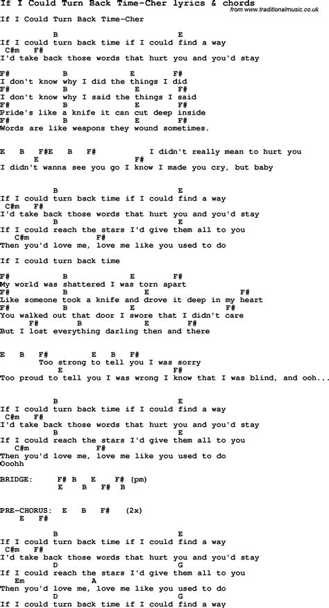 song lyrics for if i could turn back time cher with