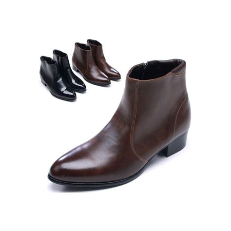 mens toe side zip low heel ankle boots