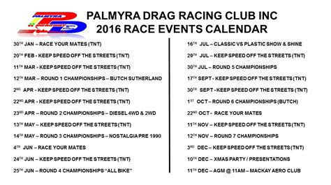 Race Calendar 2016 Current Race Calendar