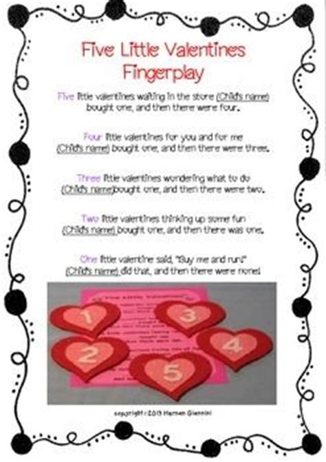 valentines songs for preschoolers rymes and fingerplays mini lesson literacy