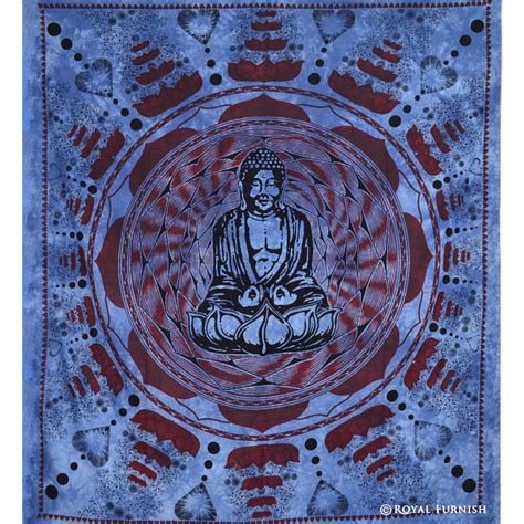 blue indian buddha tapestry wall hanging decorative