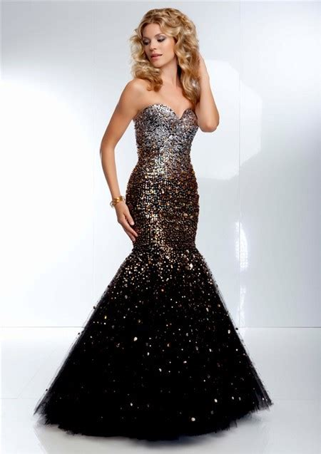 black beaded prom dress gorgeous mermaid strapless black tulle gold ombre