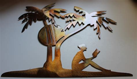 decorative sculptures for the home palm tree metal wall art