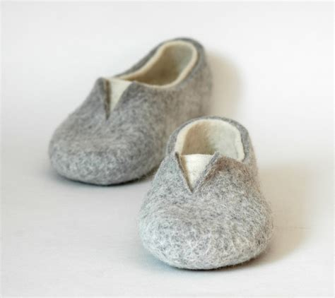felted slippers felted slippers home shoes grey white