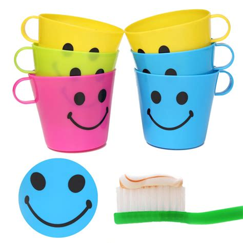 Plastic Cup Yellow Intl 6 plastic colorful happy smiley mugs cups with handle home
