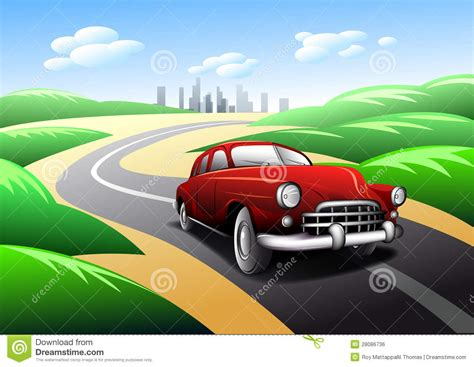 car travel vintage car traveling on road royalty free stock image image 28086736