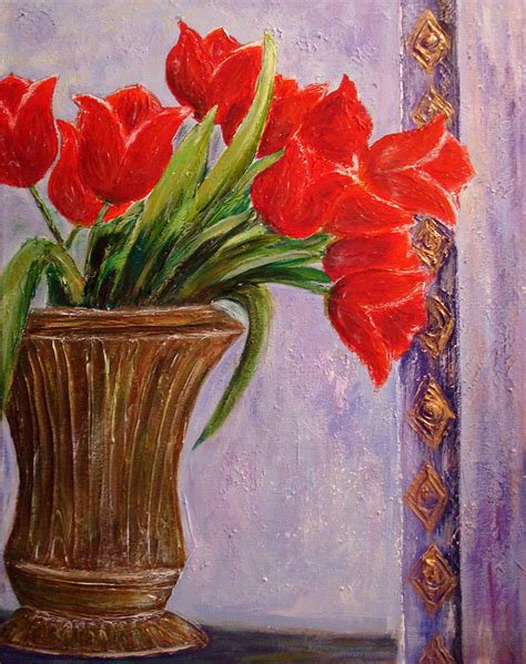 Where To Buy Vases Tulips In Vase Painting By Raya Finkelson