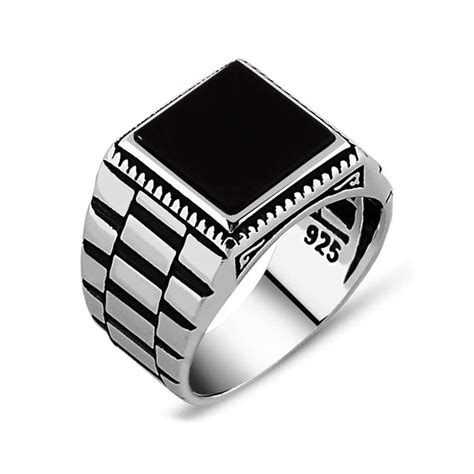 Mens Ring by Black Square Onyx Silver S Ring Boutique Ottoman
