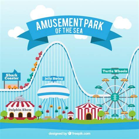 theme park vector amusement park background vector free download