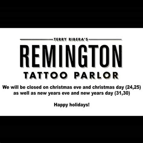 tattoo shop hours holliday hours remington