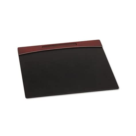 Faux Leather Desk Mat by Rolodex Mahogany Wood And Black Faux Leather Desk Pad