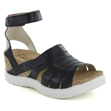fly black sandals fly womens leather wedge sandals black
