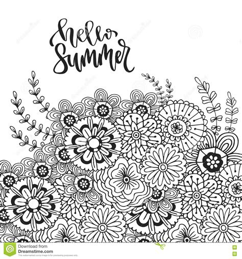 abstract summer coloring pages vector abstract flowers for decoration adult coloring