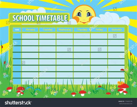 design html timetable school timetable print template background stock