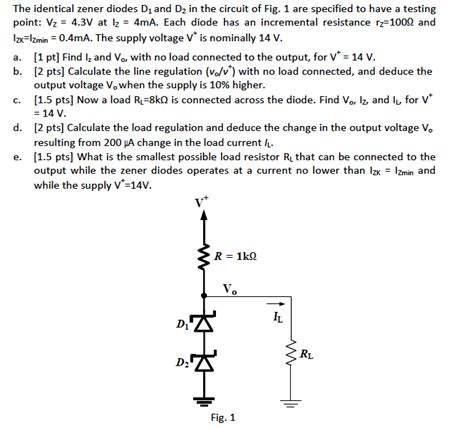 zener diode incremental resistance the identical zener diodes d1 and d2 in the circui chegg