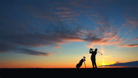 Golf Photo At Sunset Images Free