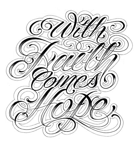 tattoo lettering designs script with faith comes script script killers