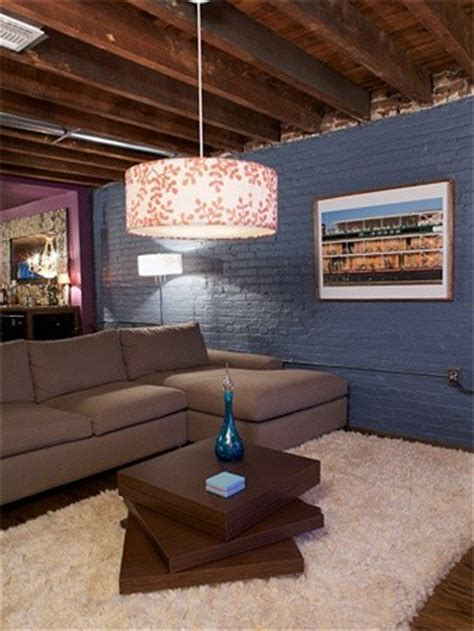 An unfinished basement: stain the ceiling, paint the walls