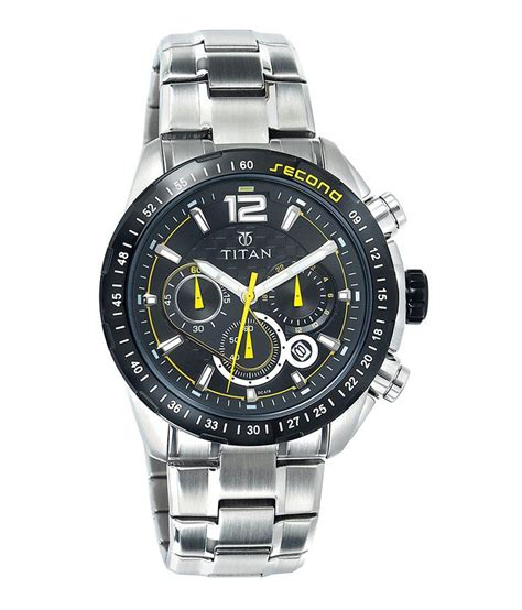 titan silver stainless steel analog chronograph sports