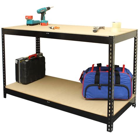 warehouse work benches hardcastle black steel garage warehouse workbench table