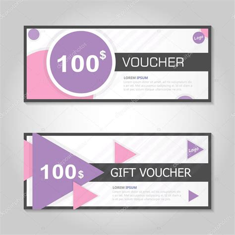 pink blue circle and triangle gift voucher template layout