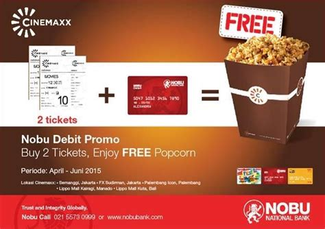 cinemaxx popcorn promo kartu debit nobu beli 2 tiket cinemaxx gratis