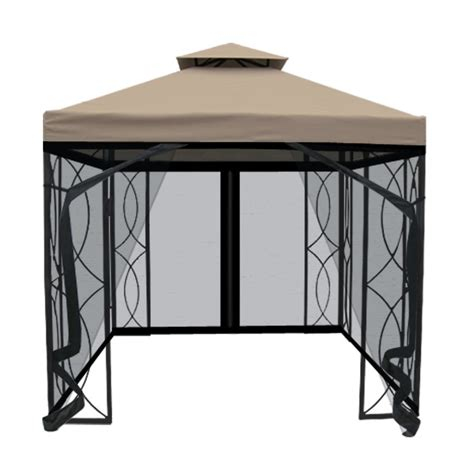 Garden Treasures 8 ft x 8 ft Square Gazebo with Insect Net   Lowe's Canada
