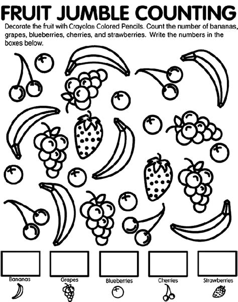 Fruit Jumble Counting Coloring Page Crayola Com Counting Coloring Pages