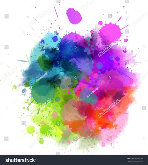 multicolored watercolor splash blot stock vector 181512149