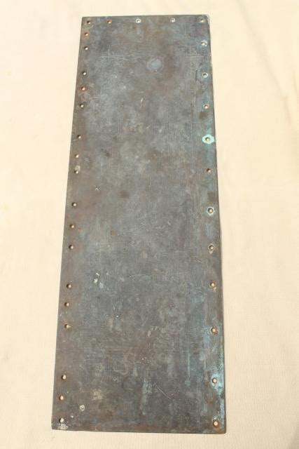 antique heavy solid brass door hardware kick plate  push   tarnished patina