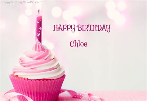 happy birthday cupcake candle pink cake  chloe