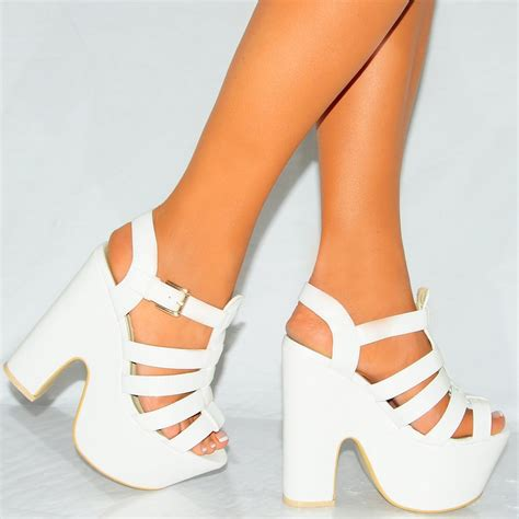 wedges high heels white pu leather strappy peep toe platform wedge